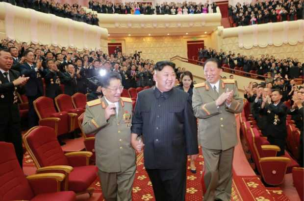 North Korean leader Kim Jong Un reacts during a celebration for nuclear scientists and engineers who contributed to a hydrogen bomb test, in this undated photo released by North Korea's Korean Central News Agency (KCNA) in Pyongyang on September 10, 2017. KCNA via REUTERS   ATTENTION EDITORS - THIS PICTURE WAS PROVIDED BY A THIRD PARTY. REUTERS IS UNABLE TO INDEPENDENTLY VERIFY THE AUTHENTICITY, CONTENT, LOCATION OR DATE OF THIS IMAGE. NO THIRD PARTY SALES. SOUTH KOREA OUT. NO COMMERCIAL OR EDITORIAL SALES IN SOUTH KOREA. THIS PICTURE IS DISTRIBUTED EXACTLY AS RECEIVED BY REUTERS, AS A SERVICE TO CLIENTS.