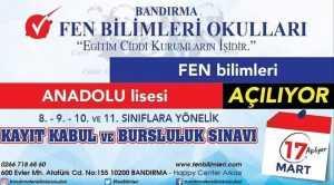 FEN BİLİMLERİ ANADOLU LİSESİ AÇILIYOR