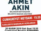 AHMET AKIN BANDIRMA'YA GELİYOR